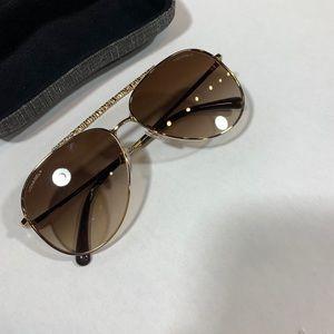 "Chanel ""tweed"" aviator sunglasses gold"